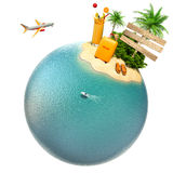 Tropical island, plane and boat on the planet. Travel Royalty Free Stock Image