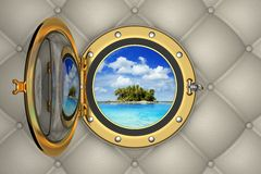 Tropical island from the porthole. View of the tropical island from the porthole of luxurious yacht, 3D illustration Royalty Free Stock Images