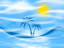 Tropical Island Represents Palm Tree And Background Stock Photo