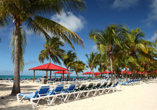 Tropical Island resort. White sand beach lined with beach chairs and Palm trees Royalty Free Stock Images