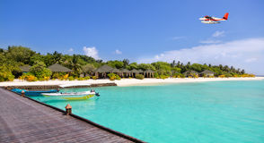 Tropical island resort on Maldives Stock Photography