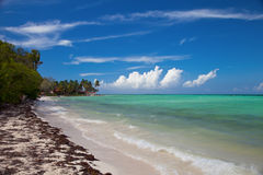 Tropical island resort waterfront beach landscape perspective vi. Ew, Cuba vacation, Cayo Guillermo island, Cuba August 2016 stock images