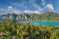 Tropical island with resorts - Phi-Phi island, Krabi Province, T Stock Photos