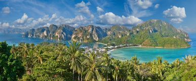 Tropical island with resorts - Phi-Phi island, Krabi Province, T Stock Photography