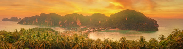 Tropical island with resorts - Phi-Phi island, Krabi Province, Thailand Royalty Free Stock Images