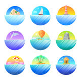 Tropical Island Round Colorful  Icons Set Stock Image