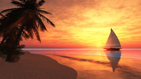 Tropical island with sailboat Stock Images
