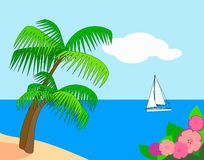 Tropical Island and Sailboat. Palm trees and flowers in the foreground Stock Images
