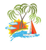 Tropical island and sailboat vector Royalty Free Stock Image