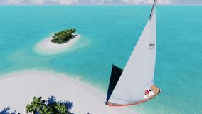 Tropical island with a sailing boat. Empty tropical island with a sailing boat vector illustration