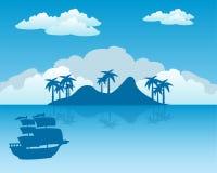 Tropical island and sailing nave Stock Photos