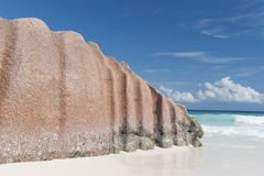 Tropical island sandy beach with big stone Royalty Free Stock Photo