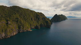 Tropical island and sandy beaches, aerial view. El Nido stock video