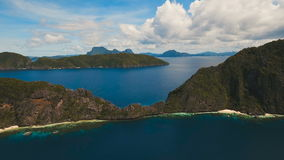 Tropical island and sandy beaches, aerial view. El Nido stock video footage