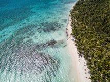 Tropical island Saona from drone stock image