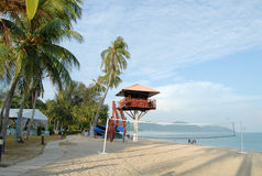 Tropical Island Scene. Empty beach with clouds in penang Stock Photo