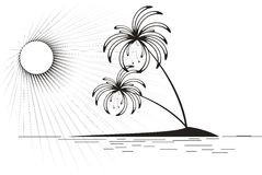 Tropical island in the sea. Black and white vector illustration/ Tropical island Stock Photography