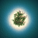 Tropical island. In sea, top view. 3D illustration Stock Photo