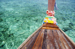 Tropical island sea water and thai boat Royalty Free Stock Images