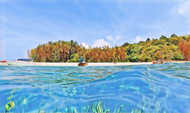 Tropical island through sea water vibrant digital illustration. Sea view double landscape. Royalty Free Stock Photography