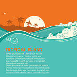 Tropical island  and seascape.Vector illustration Stock Photography
