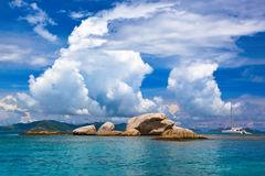 Tropical island at Seychelles and boats Royalty Free Stock Photo