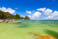 Tropical island at Seychelles Stock Photos