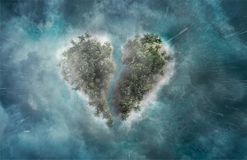 Tropical island in the shape of broken heart vector illustration