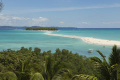 Tropical island with small sand path in Nosy Iranja, Madagascar Stock Images