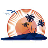 Tropical island and sun Stock Image