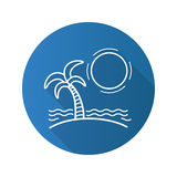 Tropical island with sun, waves and palm tree flat linear long shadow icon Stock Image