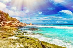 Tropical island on the sunny day Royalty Free Stock Image