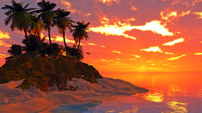 Tropical island sunset Royalty Free Stock Images