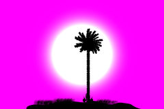 Tropical island at sunset. Silhouette of a tropical island on sunset background Stock Photo