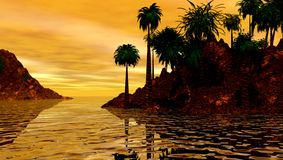 Tropical island at sunset. Beautiful scenic view of silhouette of tropical island with golden sunset Royalty Free Stock Photography