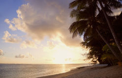 Tropical Island at Sunset Stock Photography