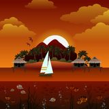 Tropical island sunset background Royalty Free Stock Images