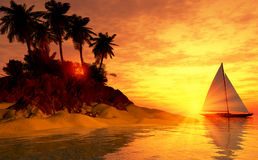 Tropical island sunset with sailboat Stock Photography