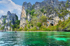 Tropical island in Thailand. Tropical beach in Thailand with turquoise water and rocks Stock Images