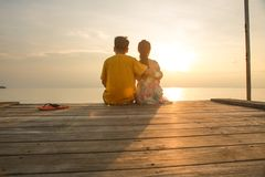 Couple looking at the sea-Sweet trip for two stock image