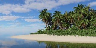 Tropical island under a cloudy sky. Royalty Free Stock Photos