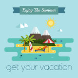 Tropical Island Vacation Postcard Royalty Free Stock Photos