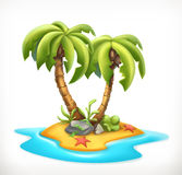 Tropical island, vector icon. Tropical island, 3d vector icon Royalty Free Stock Image