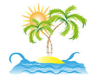 Tropical Island. Vector illustration of a tropical island with the sea, coconut palm trees and the sun Stock Photos