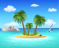 Tropical island. Vector illustration of a small tropical island in the middle of the ocean Stock Photography