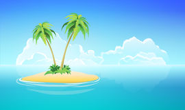 Tropical Island, Vector Nature Landscape Illustration Stock Photography