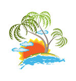 Tropical island vector Royalty Free Stock Photo
