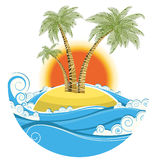 Tropical island.Vector symbol seascape with sun is Stock Image