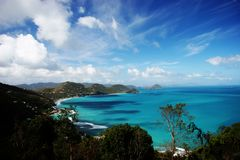Tropical island view. View of ocean and tropical islands Royalty Free Stock Photo