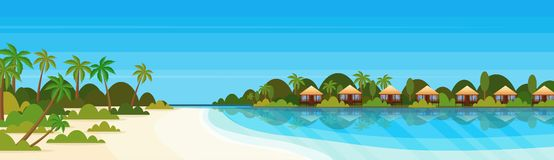 Tropical island with villas bungalow hotel on beach seaside green palms landscape summer vacation concept flat. Horizontal banner vector illustration vector illustration